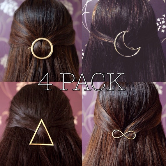 4 CLIPS SAVER PACK! Vintage Punk Gold Plated Moon/Triangle/Infinity/Circle Hair Clip Hairpin