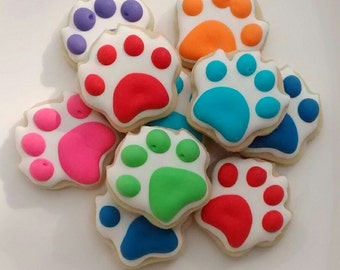 Paw Dog theme sugar cookies mini or large ,birthday  party ,bone,paw,puppy cookies decorated with royal icing ,