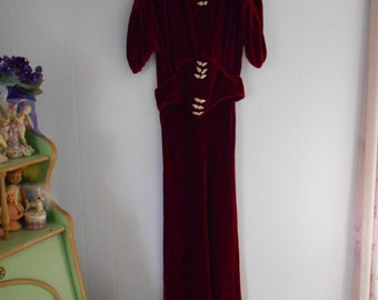 Gorgeous 1930's Rust/Burnt Orange Silk Velvet Gown with Rhinestone Buckles