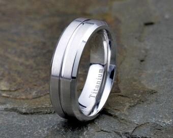 titanium wedding band brushed grooved polished beveled edge mens titanium ring wedding band custom laser engraving - Mens Titanium Wedding Rings