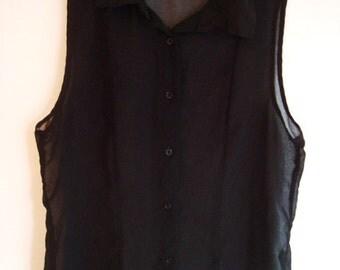 Vintage Black See Through Shirt - Woman's Goth Shirt - Sleeveless Polyester Shirt