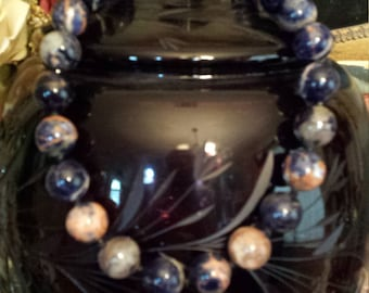 One strand beaded sodalite necklace