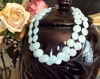 Two strand faceted flat round beaded aqua marine necklace