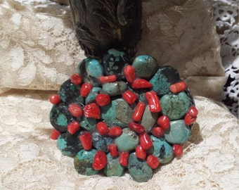 Vintage turquoise and coral belt buckle