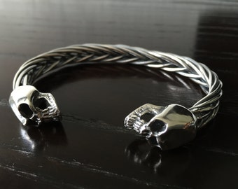 925 Sterling silver skull bracelet handmade for men.