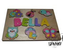 Personalized Wooden Name Puzzle Natures Best Flowers, Ladybug, Bird, Owl, Mushroom, Butterfly, Natures Wonders