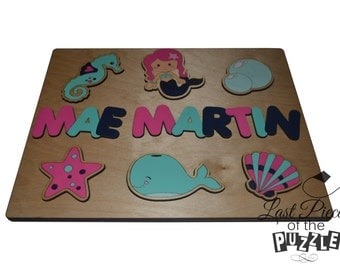 Mermaid Tales Personalized Wooden Name Puzzle Seahorse, Bubbles, Seashell, Star, Whale, Mermaid V1014