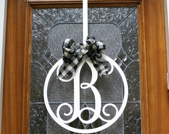 Metal Letter Initial Door / Wall Hanger / Circle Outline / Optional Metal Hanger