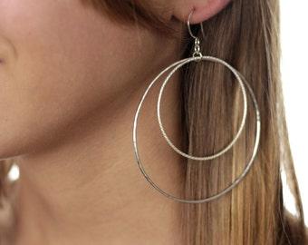 Large Double Hoops, Hoop Earrings, Gold or Silver