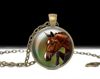 Horse Necklace Horse Jewelry Necklace Wearable Art Pendant Charm