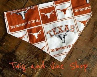 University of Texas Dog Bandana  pet Scarf  Texas Bandana  Longhorns College Football Team Spirit
