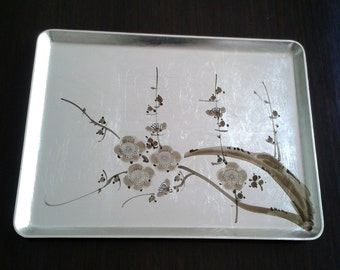 Vintage Japanese Lacquerd Serving Tray, Silver Leaf Serving Tray, Cherry Blossoms