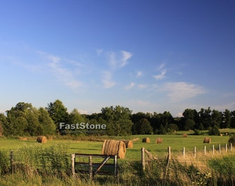 Farm, Landscape, Country, Hay, Field, Photograph, Farmland, print, Hay Bales, Photo, photography, free shipping