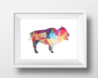 Buffalo Print, Printable Art Print, Bison Wall Art, Bright Triangle, Low poly art, Nursery, Geometric Buffalo Art, Tribal Print