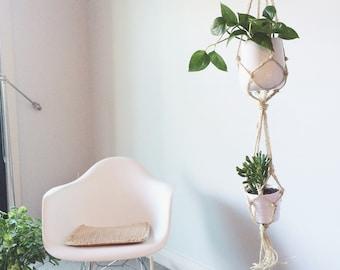 double macrame plant hanger - terrarium hanger - home decor