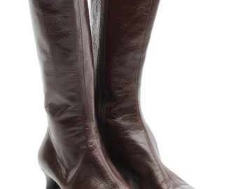 PRADA Brown Leather Mid-Calf Zip Up Boots Size 8