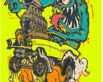 Vintage Reproduction Racing Poster 1960's Mr Gasser Rat Fink Chevy