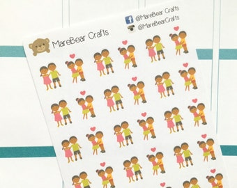 30 Loving African-American Couple Stickers! Perfect for your Erin Condren Life Planner, Filofax, Plum Paper & other planner or scrapbooking!