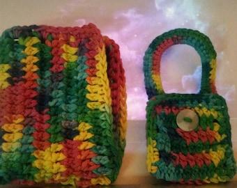 One handmade crochet towel holder and 1 dish/wash  cloth