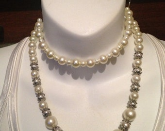 Pearls antique white glass