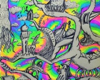 Psychedelic Art Print - Surreal Rainbow Sky