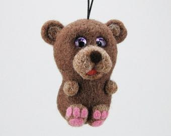 Needle felted bear, felted animal, felted wild animal, natural wool, animal decor, felted gift