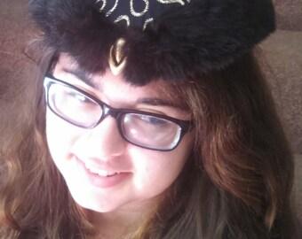 Fur trimmed fascinator hat