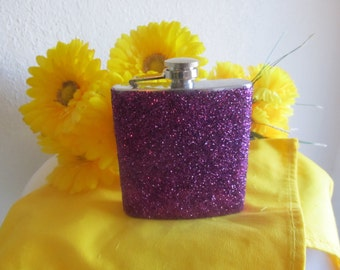 Flask, Purple Flask, Glitter Flask, Laker Flask, Woman Flask,Classy Flask, Liquor Flask, Custom Flask, Personalize Flask