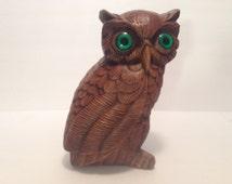 Retro.Vintage Knick Knack Ceramic Owl Green Eyes.Statue.Figurine.Mid Century Home Decor.Library.Desk.Shelf.Office.Mid Century