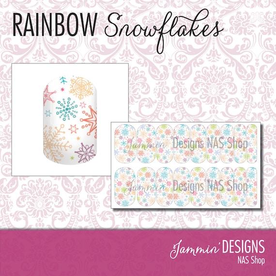 Rainbow Snowflakes NAS (Nail Art Studio) Design