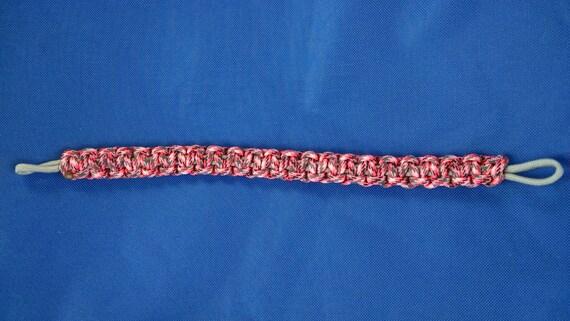 Horse Tack: Paracord Brow Band- camoe pink w/grey core