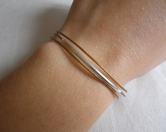 Cords of leather bracelet and silver tube.