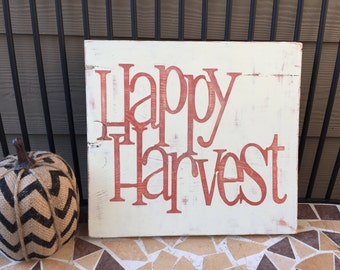 Happy Harvest Fall Wood Hand Painted Sign Thanksgiving Home Decor