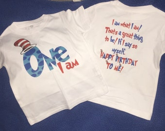 Dr. Seuss Birthday Shirt Personalized Front and Back, First Birthday, Dr. Seuss Birthday, Dr. Seuss T-Shirt