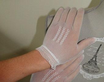 white vintage FishNet gloves