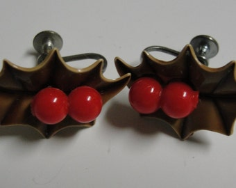 Holly and Berry Screw Earrings