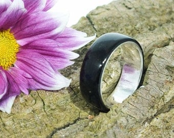 Wood Engagement Ring With Macassar Ebony & Sterling Silver Core Lining