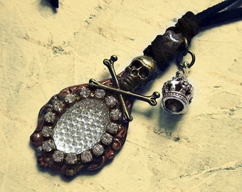 Pirate Pendant Necklace With Crown Charm, Pirate Accessories For Your Garb, Pirate Themed Jewelry, Skull And Crossbones Accessories