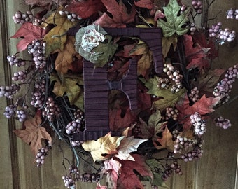 Fall Wreath Monogram, Front Door Decor, Letter F by Tightly Wound Designs