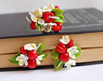 cherry jewelry set - flower ring and earrings, handcrafted floral fancy jewelry sets, cherry blossom