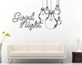 good night words hanging light bulbs sleep quote citation saying bedroom sleeping room wall decal vinyl