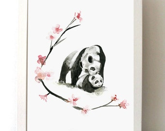 Panda watercolor Painting - Panda Art Animal painting ink drawing - Giclee print - Zen art - Watercolour Panda - Aquarelle China bear