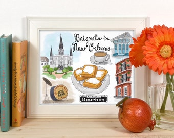 Eat Drink Travel Art Print: Beignets in New Orleans Louisiana Travel Sketch Illustration