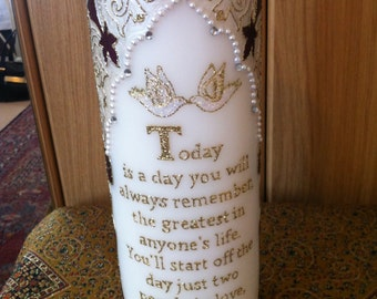 Wedding Candle Personalised- Handpainted