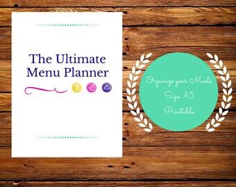 Meal planner printable, meal planning, meal prep, weekly meal planner notebook, menu planner, grocery list printable, A5