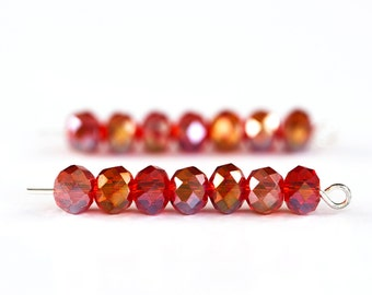 1122_Red AB crystals 6 mm, Glass beads, Rondelle, Roundel, Transparent crystals, Glass beads, Crystal beads, For jewelry making, Faceted.