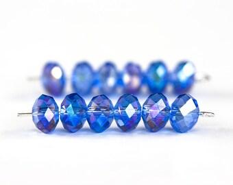 1362_Transparent_AB glass crystals, Blue rondelles, Glass beads, Glass rondelle, Beads for jewelry, Jewelry supplies crystals 8x6 mm_70 pcs.