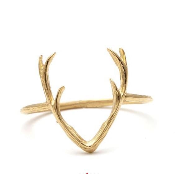 antler ring deer ring ring animal ring by karaskraftroom
