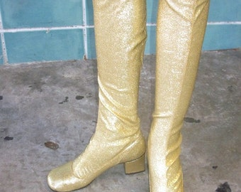 sz 5.5 vintage 60s  go go mod gold lame stretch knee high boots