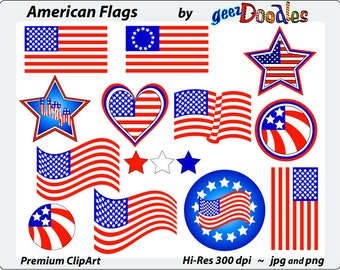 American Flag Clipart ~ Patriotic Clip Art ~ American Flags and Banners for Clipart ~ 4th of July Clip Art ~ July 4th Clipart